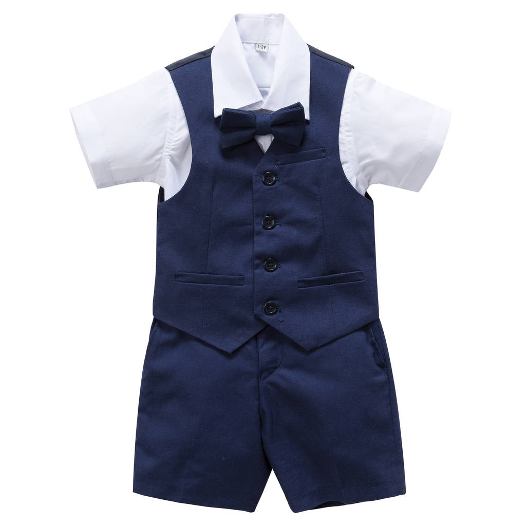 boy s christening wedding 4pc linen blend short suit by baby magic ... b501e98d9