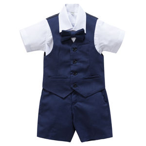 Boy's Christening Wedding 4pc Linen Blend Short Suit