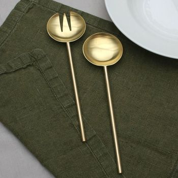 Luxury Brushed Gold Brass Serving Set