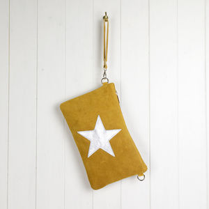 Suede And Leather Star Clutch