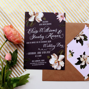 Black Magnolia Wedding Invitation Suite - wedding stationery