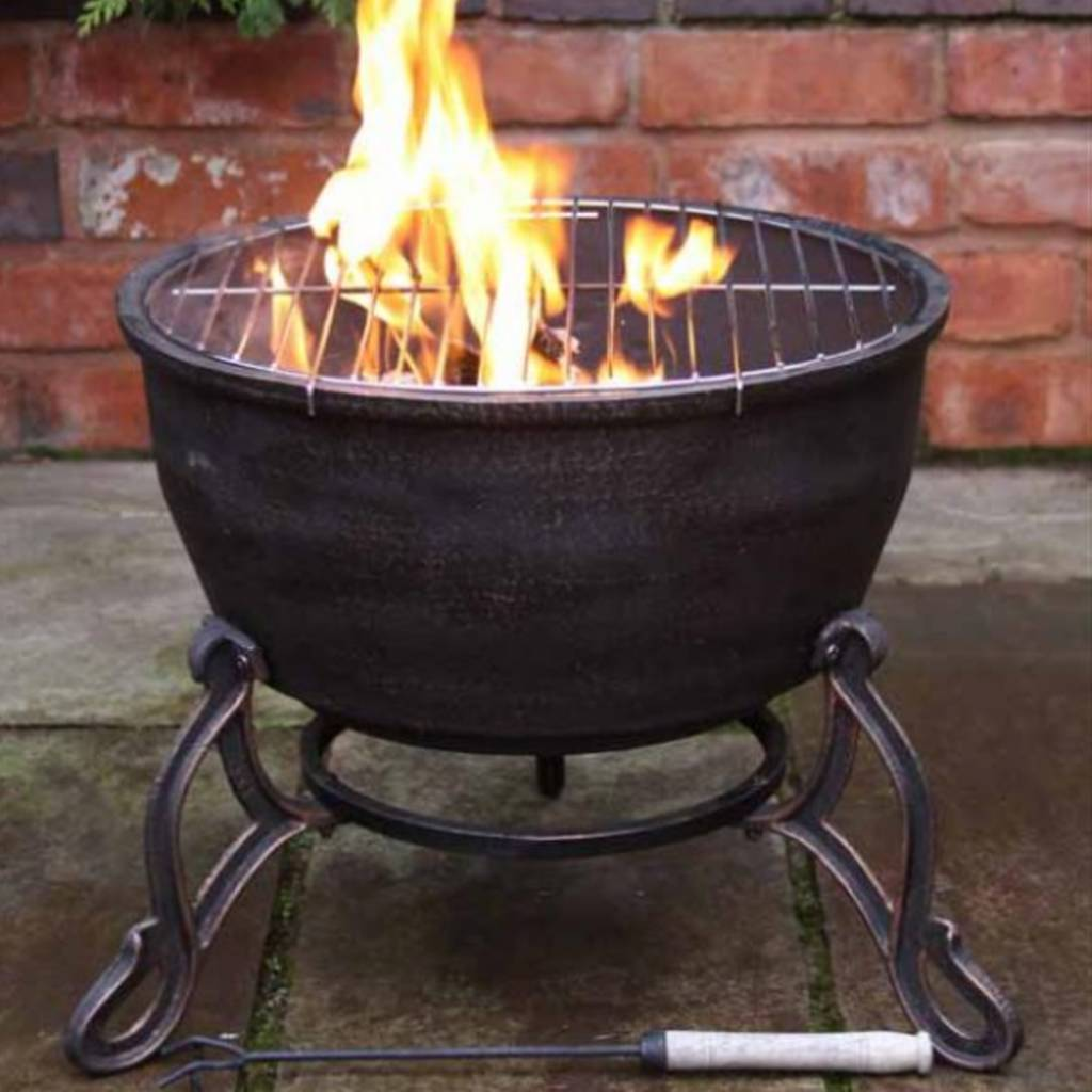 Cast iron garden fire bowl and bbq grill by garden for Fireplace and bbq