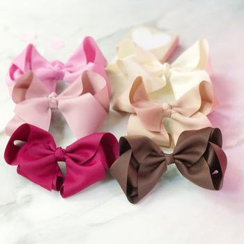 Gift Set Of Six Large Boutique Hair Bow For Girls
