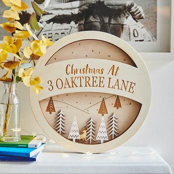 Personalised Wooden Snow Scene Wreath