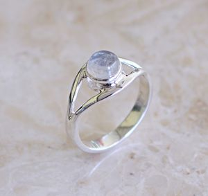 Double Band Sterling Silver Moonstone Ring - rings