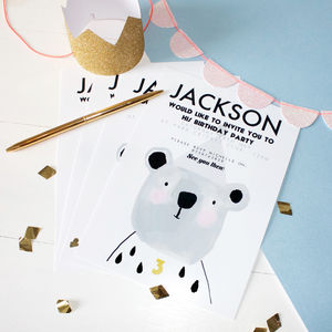 Pack Of 12 Unisex Bear Party Invitations