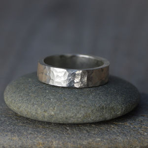 Textured Wedding Band In Sterling Silver - rings