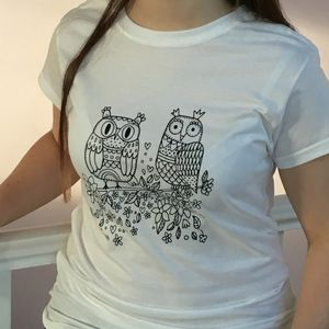Colouring In Ladies Owl T Shirt - tops & t-shirts