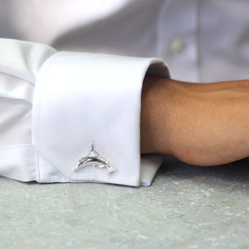 Silver Leaping Fish Cufflinks