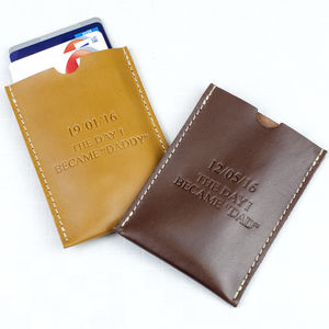 Personalised Day I Became Daddy Leather Card Holder