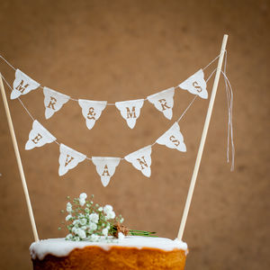 Personalised Wedding Cake Mini Bunting - cake decoration