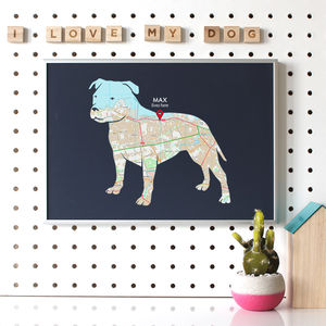 Personalised Map With Staffordshire Bull Terrier