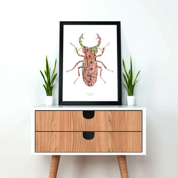 Personalised Stag Beetle Map Print