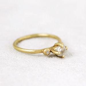 Claw Set White Rough Diamond Ring, Yellow Gold - rings