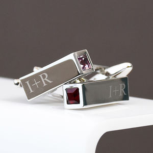 Birthstone Personalised Bar Cufflinks - valentine's gifts for him