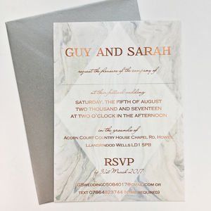 Grey Marble And Copper Wedding Invitation - wedding stationery