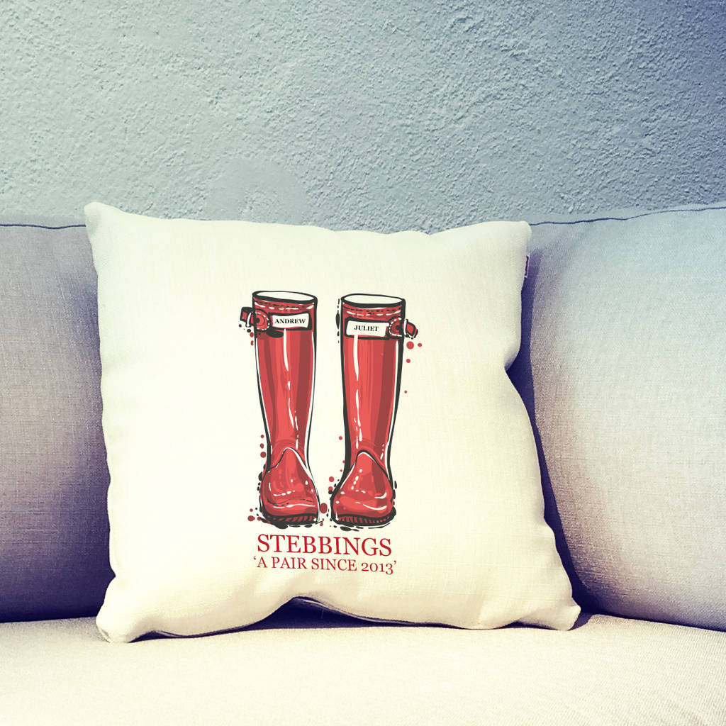 Personalised Wellingtons Lovers Cushion Cover