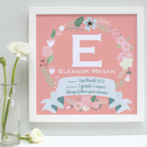 Personalised New Baby Framed Initial Print - children's room