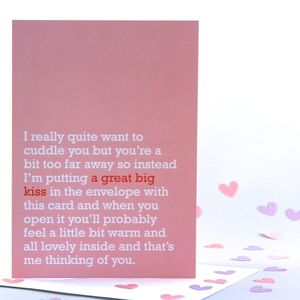'A Great Big Kiss' Thinking Of You Card - valentine's cards