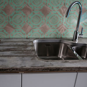 Mint Geo In Maple Patterned Glass Splashback - bathroom