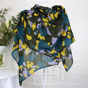 'Spring Leaves' 100% Wool Voile Scarf Wrap