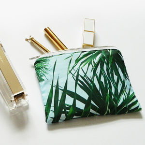 Tropical Palm Leaf Print Mini Make Up Bag - make-up & wash bags
