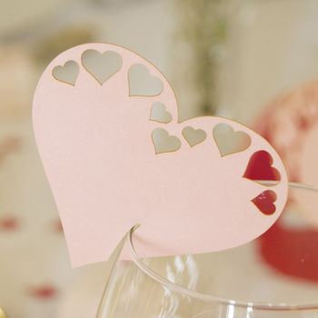 Pack Of 10 Pearlescent Large Hearts Glass Place Cards