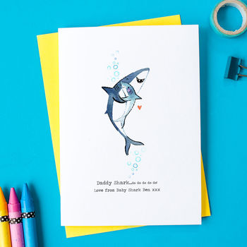 Personalised Daddy Shark Birthday Card