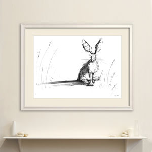 Meadow Hare Original Charcoal Drawing - animals & wildlife