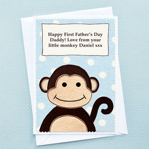 'Monkey' Personalised First Fathers Day Card - first father's day cards