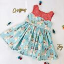 Girls Handmade Christmas Deer Party Dresss