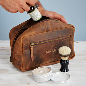 Personalised Buffalo Leather Wash Bag - wash & toiletry bags