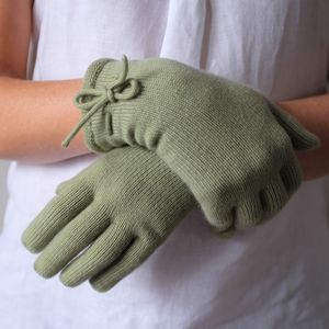 Cashmere Gloves With Bow Detail