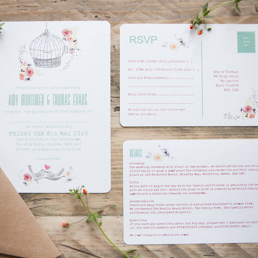 free as a bird wedding stationery by wedding in a teacup ...