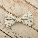 The Stamford Cream And Blue Floral Dog Bow For Weddings