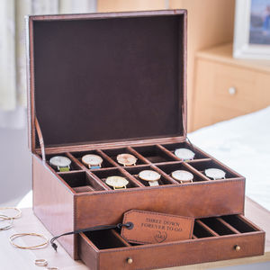 Personalised Deluxe Leather Jewellery And Watch Box - jewellery storage & trinket boxes
