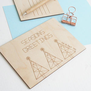 Personalised Wooden Geometric Christmas Postcard