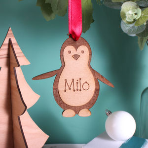 Personalised Wooden Penguin Decoration - baubles & hanging decorations