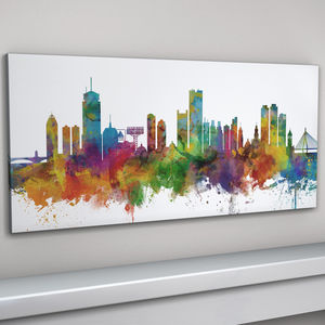 Boston Massachusetts Skyline Cityscape Art Print - architecture & buildings