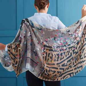 Womens Printed Cashmere Silk Scarf, Le Marais Confetti - shop by recipient