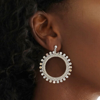 Statement Disc Charm Cluster Drop Earrings