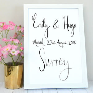 Personalised Couples Destination Wedding Print
