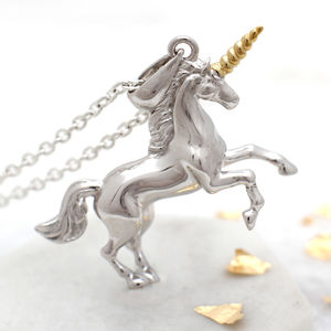 18ct Gold And Sterling Silver Unicorn Necklace - children's jewellery