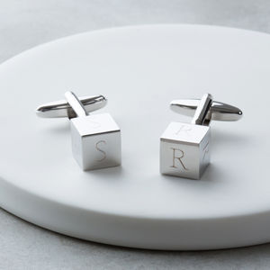 Personalised Engraved Cube Initial Cufflinks - cufflinks