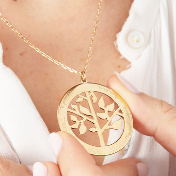 Personalised 'Tree Of Life' Necklace Gold Plated