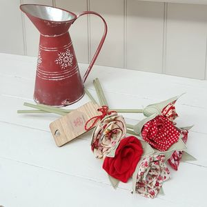 Mixed Red Cotton Flowers With Engraved Tag - jugs & bottles