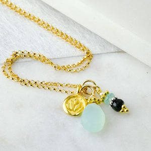 Kamal Lotus Charm Gold Boho Necklace