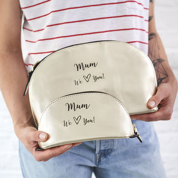 Mum Leather Toiletry Bag And Make Up Bag
