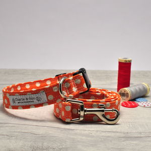 Orange Collar And Lead Set For Boy And Girl Dogs