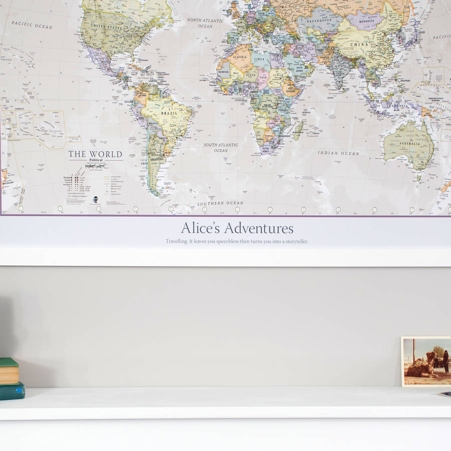 Personalised classic world map by maps international personalised classic world map gumiabroncs Images